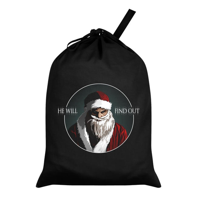 Black-White-Red - Front - Grindstore He Will Find Out Santa Sack