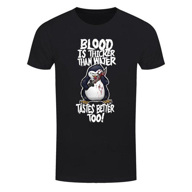 Black - Front - Psycho Penguin Mens Blood Is Thicker Than Water T-Shirt