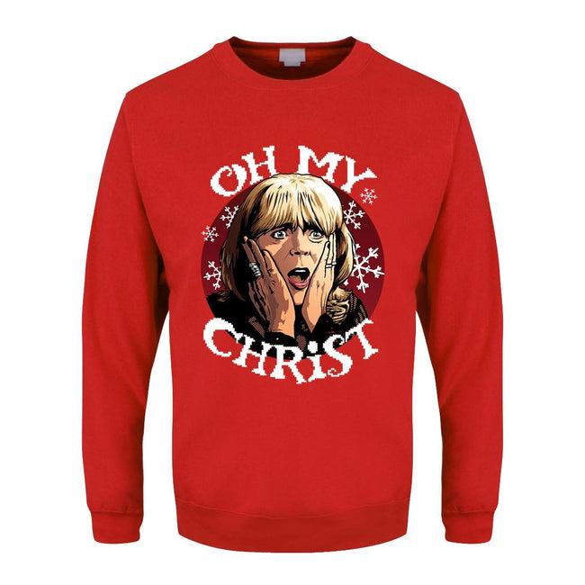 Red - Front - Grindstore Mens Oh My Christ Pam Christmas Jumper