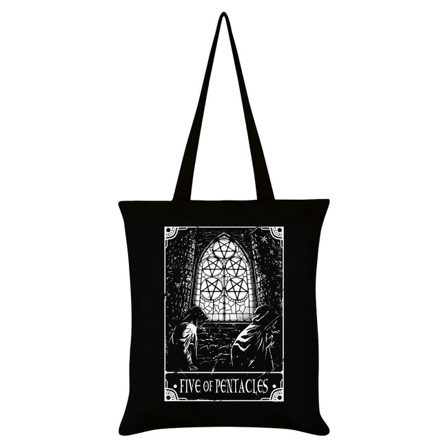 Black - Front - Deadly Tarot Five Of Pentacles Tote Bag