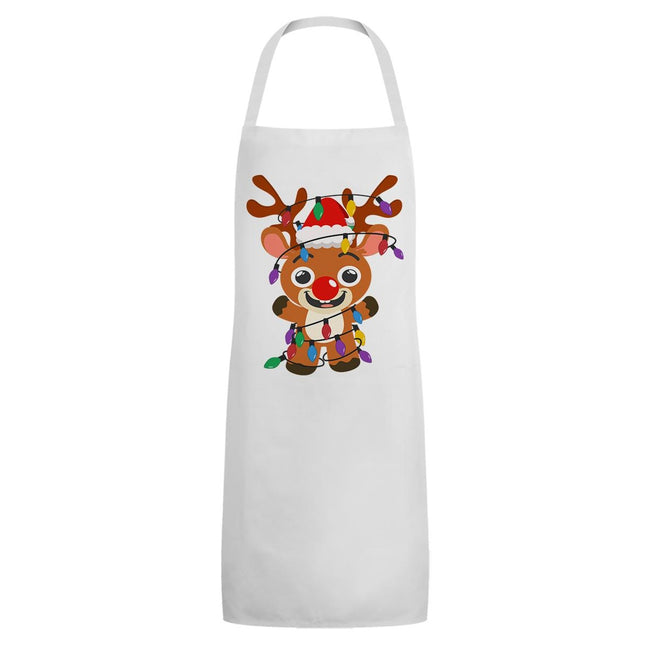 White - Front - Grindstore Unisex Adult Festive Rudolph Full Apron