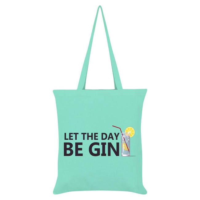 Mint Green - Front - Grindstore Let The Day Be Gin Tote Bag