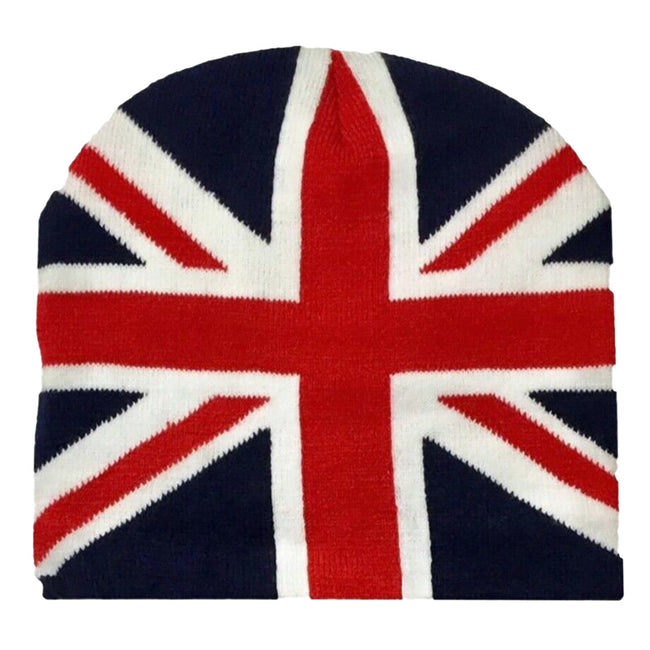 Navy-White-Red - Front - Mens Great Britain Union Jack Flag Winter Beanie Hat
