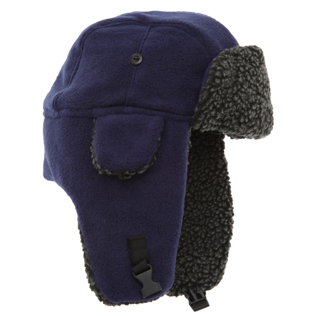 Navy - Front - EX-STORES Unisex Mens-Womens Fleece Trapper Hat, Ski Hat