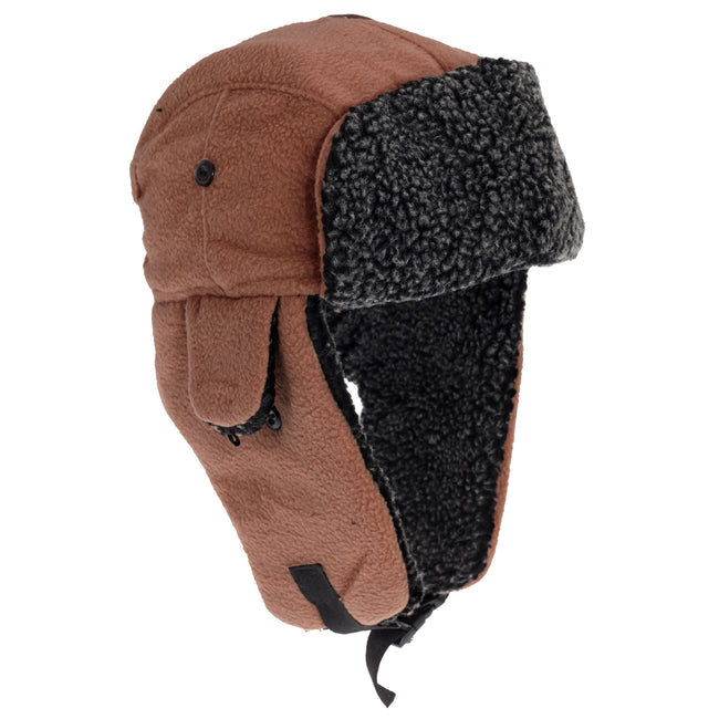 Camel - Front - EX-STORES Unisex Mens-Womens Fleece Trapper Hat, Ski Hat