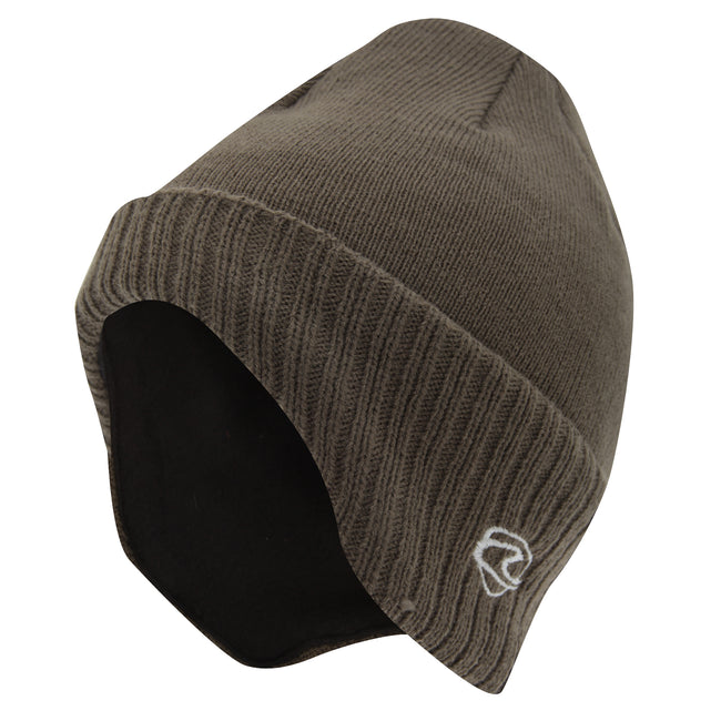 Olive - Front - Adults Unisex Thermal Knitted Winter Ski-Winter Hat With Lining (shaped To Cover Ears)