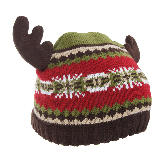 Red-Green - Front - FLOSO Childrens-Kids Fairisle Moose Winter Beanie Hat With Antlers