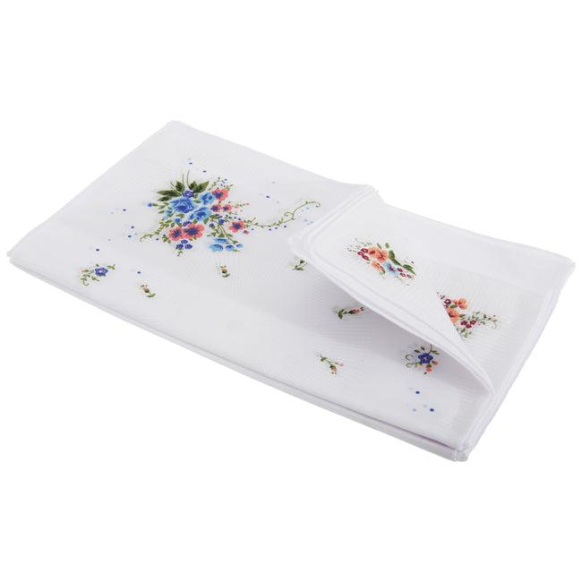 Line Burst - Front - Womens-Ladies Floral Cotton Rich Handkerchiefs (Pack Of 8)