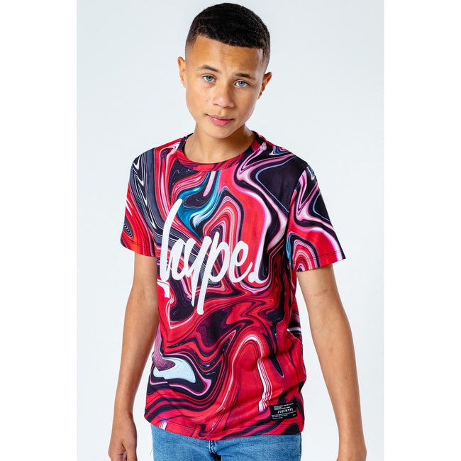 Black-White-Red - Front - Hype Childrens-Kids Marble T-Shirt