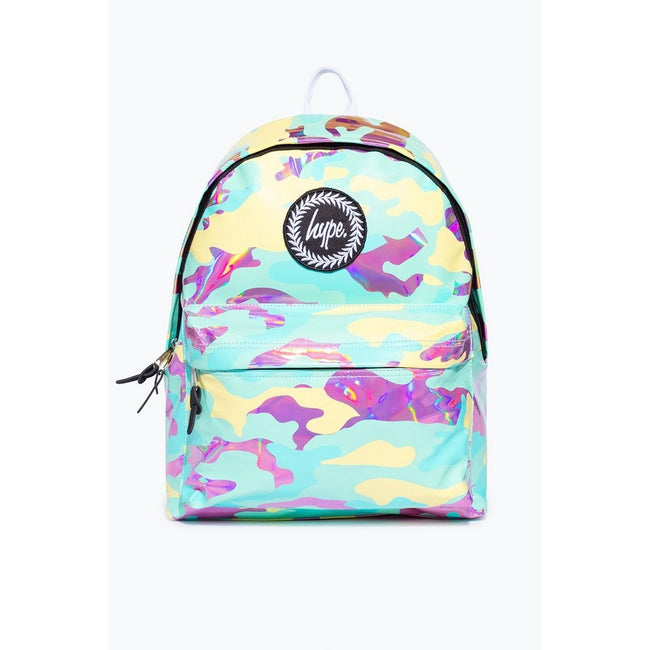 Blue-Pink-Yellow - Front - Hype Pastel Holo Camo Backpack
