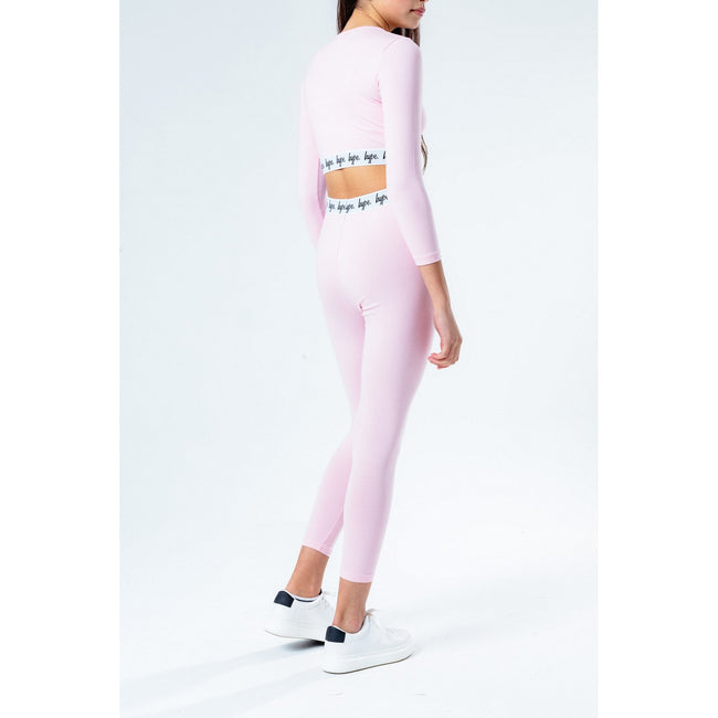 Pink-White-Black - Side - Hype Girls Cropped Long-Sleeved T-shirt And Leggings Set