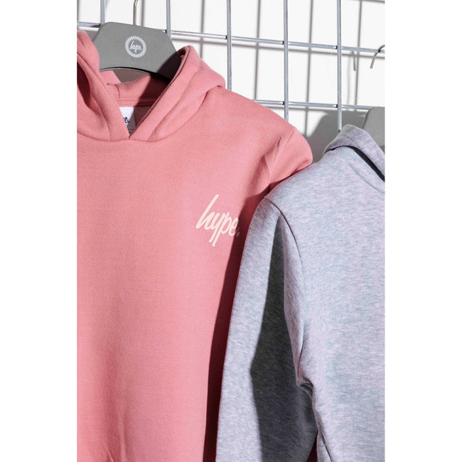 Pink-Grey - Side - Hype Girls Cropped Pullover Hoodie (Pack of 2)