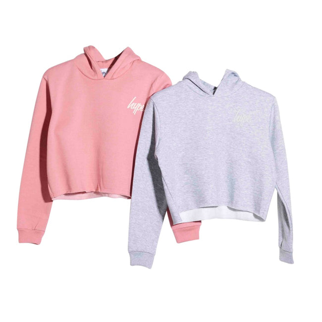 Pink-Grey - Front - Hype Girls Cropped Pullover Hoodie (Pack of 2)