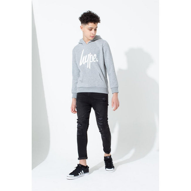 Grey - Back - Hype Childrens-Kids Script Pullover Hoodie
