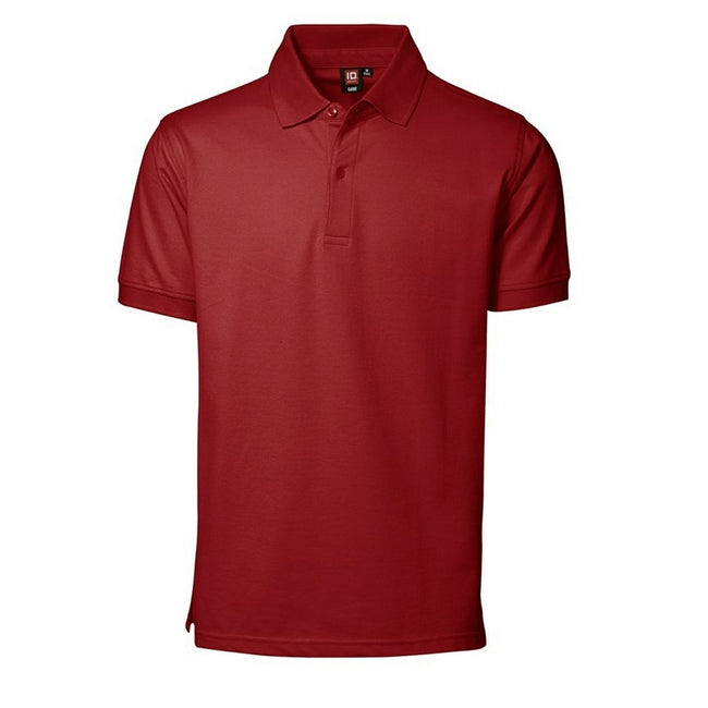 Red - Front - ID Mens Pique Short Sleeve Regular Fitting Polo Shirt