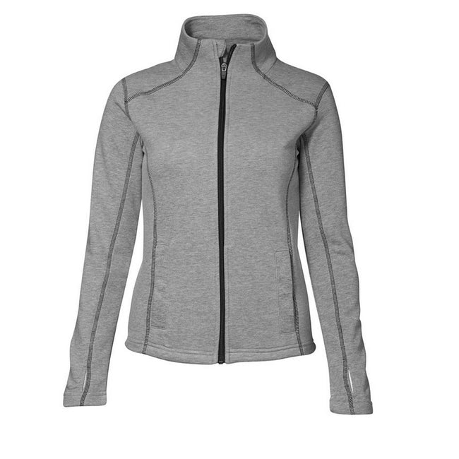 Grey melange - Front - ID Womens-Ladies Contrast Full Zip Fitted Long Sleeve Sweatshirt
