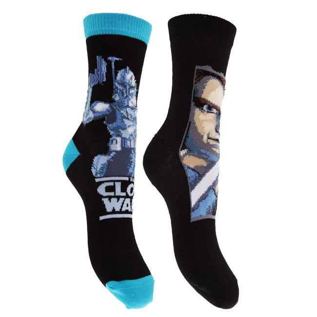 Black-Blue - Front - Star Wars Childrens Boys Cotton Rich Clone Wars Design Socks (Pack Of 2)