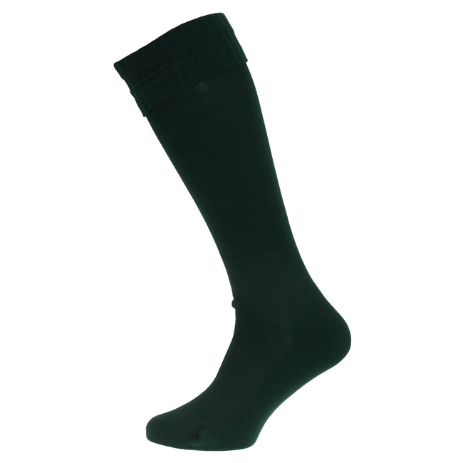 Bottle Green - Front - Apto Childrens-Kids Plain Football Socks