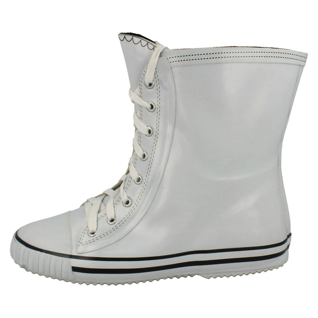 White - Side - Spot On Womens-Ladies Lace Up Baseball Boot Design Wellington Boots