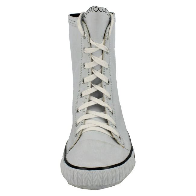 White - Front - Spot On Womens-Ladies Lace Up Baseball Boot Design Wellington Boots