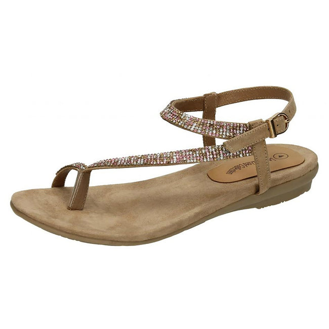 Rose Gold Suede - Front - Leather Collection Womens-Ladies Y Strap Toe Loop Sandals With Diamante Trim