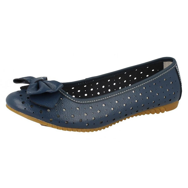 Navy - Front - Down To Earth Womens-Ladies Punched Comfort Bow Ballerina Flats