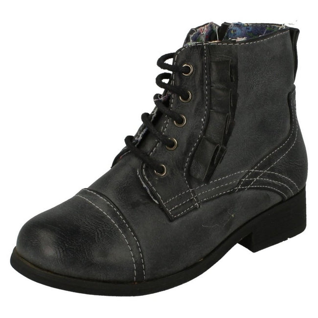 Charcoal - Pack Shot - Cutie Childrens Girls Flat Lace Up Boots