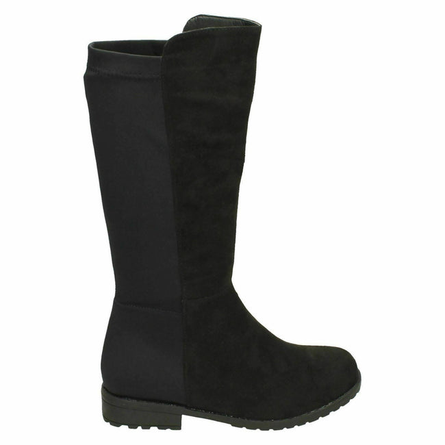 Black Microfibre - Side - Spot On Girls Mid Heel Calf Boots