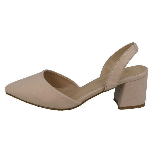Nude Microfibre - Side - Anne Michelle Womens-Ladies Wide Fitting Slingback Shoes