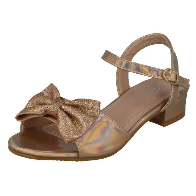 Champagne - Side - Spot On Girls Metallic Sandals