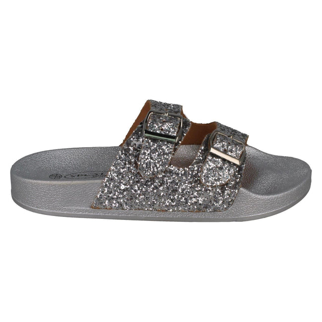 Silver - Side - Spot On Girls Glittery Mules