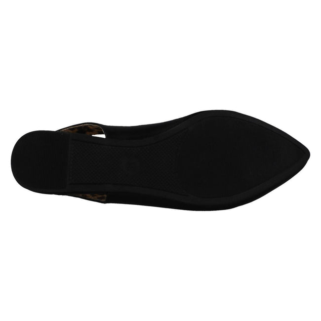 Black - Lifestyle - Spot On Womens-Ladies Flat Slingback Pointed Shoes