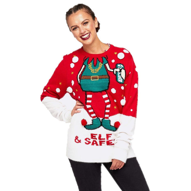 Red-White - Back - Brave Soul Mens Elf & Safety Christmas Jumper