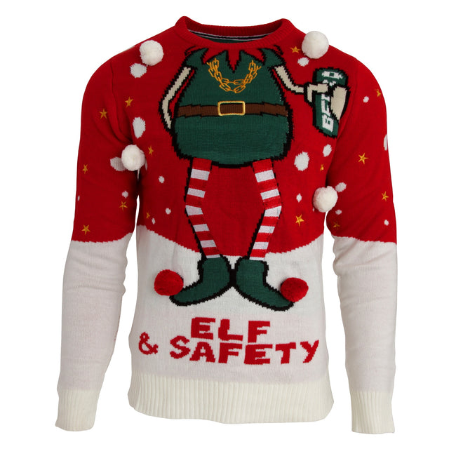 Red-White - Front - Brave Soul Mens Elf & Safety Christmas Jumper