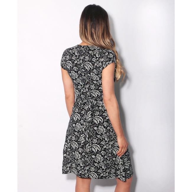 Cream-Black - Side - Krisp Womens-Ladies Leaf Print Knot Front Dress