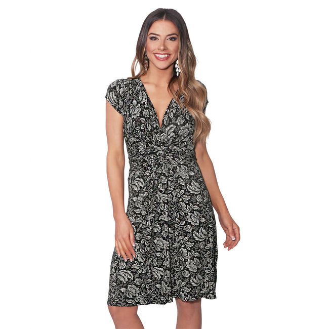 Cream-Black - Front - Krisp Womens-Ladies Leaf Print Knot Front Dress