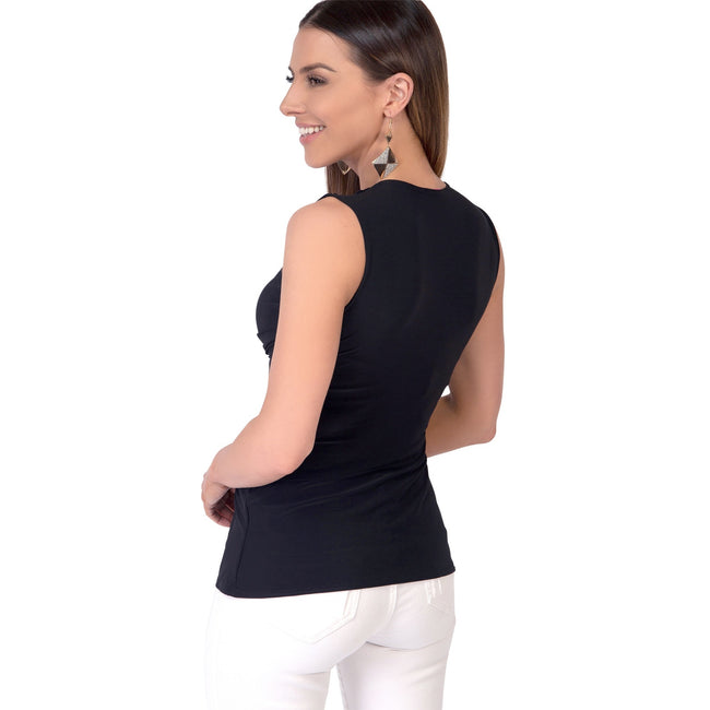 Black - Back - Krisp Womens-Ladies Sleeveless Knot Front Top