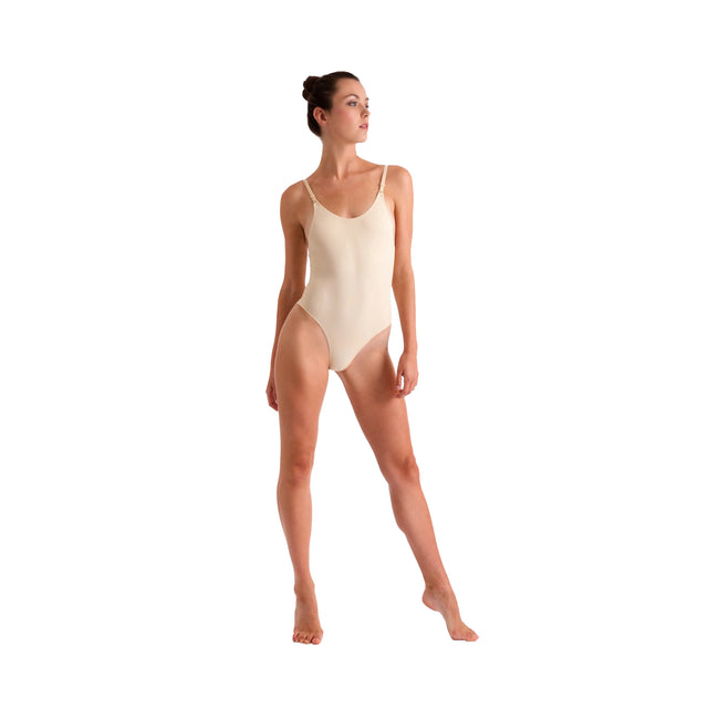 Nude - Front - Silky Womens-Ladies Invisible Low Back Dance Camisole