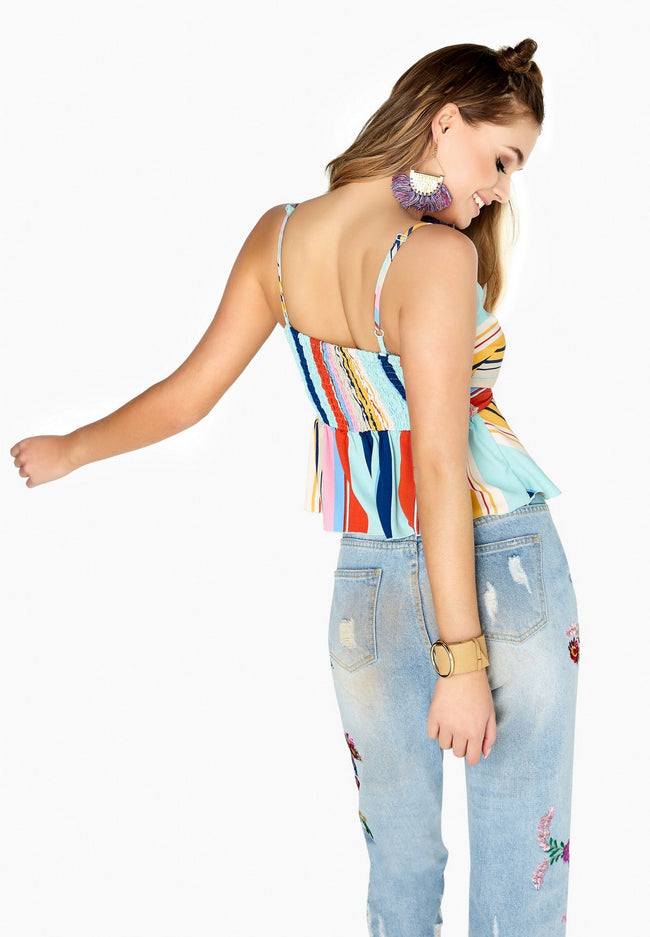 Multicoloured - Lifestyle - Girls On Film Womens-Ladies Candy Stripe Tie Top