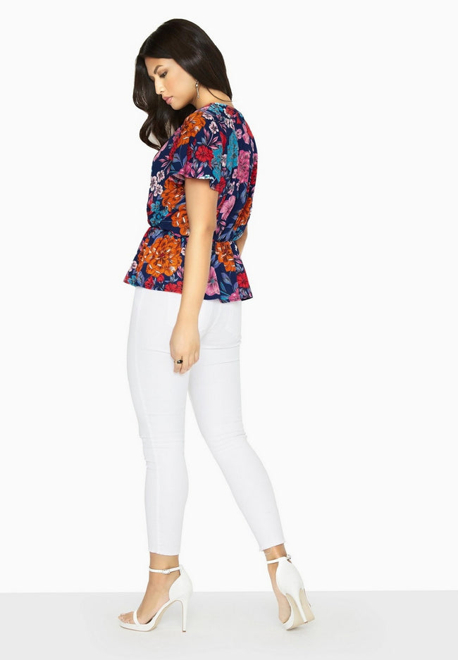 Blue - Lifestyle - Girls On Film Womens-Ladies Jackson Mock Wrap Blouse