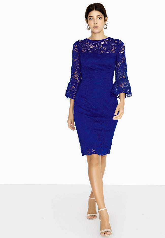 Cobalt Blue - Pack Shot - Paper Dolls Womens-Ladies Marlborough Lace Fluted Dress