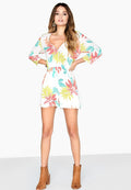 Multicoloured - Back - Girls On Film Womens-Ladies Disturbia Neon Palm Playsuit