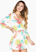 Multicoloured - Side - Girls On Film Womens-Ladies Disturbia Neon Palm Playsuit
