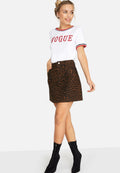 Leopard Print - Pack Shot - Girls On Film Womens-Ladies Ronnie Leopard Denim Skirt