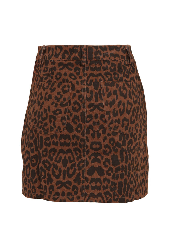 Leopard Print - Close up - Girls On Film Womens-Ladies Ronnie Leopard Denim Skirt