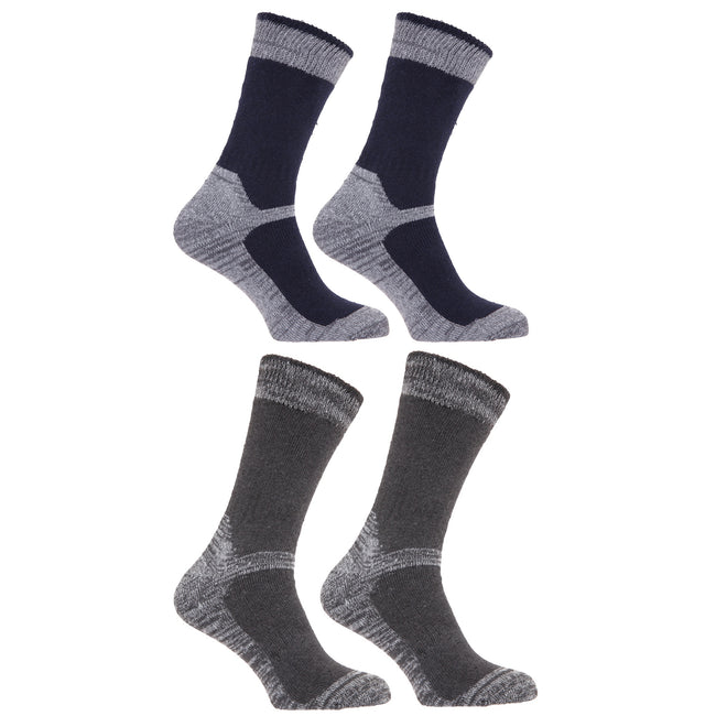 Navy-Grey - Front - Mens Heavy Weight Reinforced Toe Work Boot Socks (Pack Of 4)