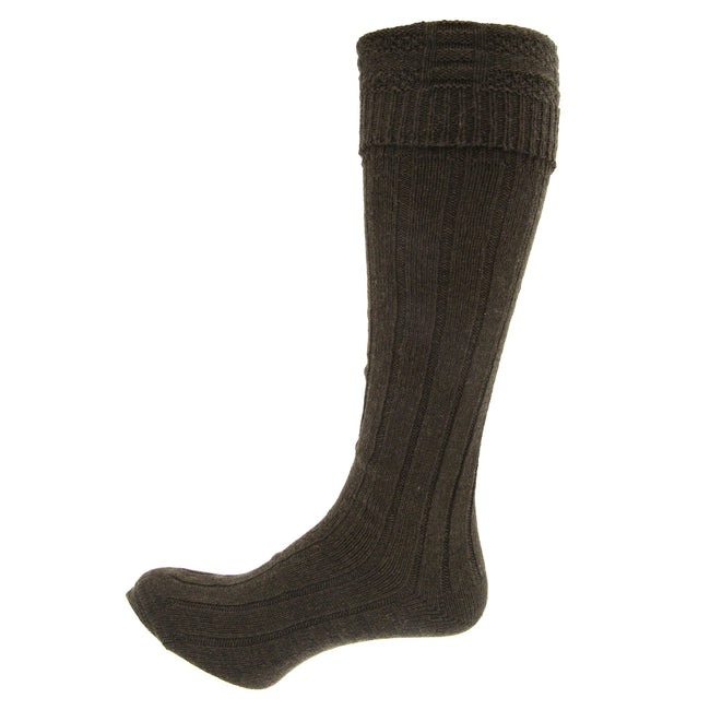 Black - Front - Mens Scottish Highland Wear Wool Kilt Hose Socks (1 Pair)