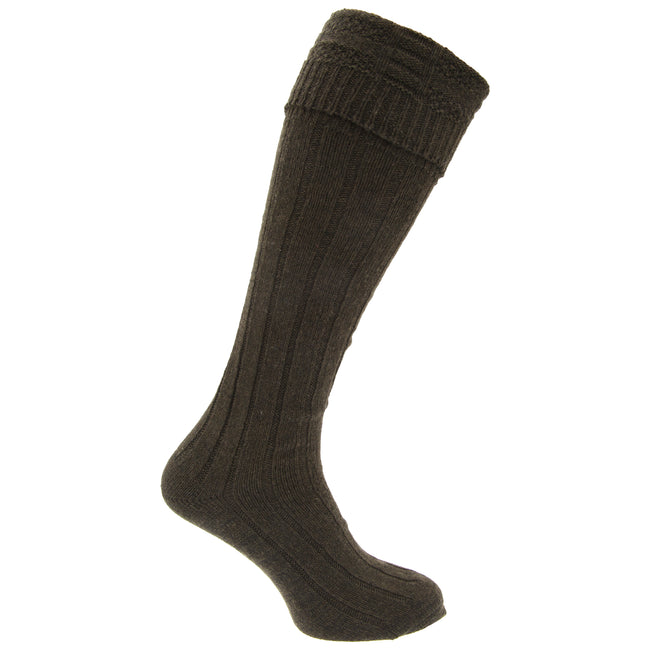 Khaki - Front - Mens Scottish Highland Wear Wool Kilt Hose Socks (1 Pair)