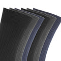 Black-Navy-Charcoal - Back - FLOSO Mens Ribbed 100% Cotton Socks (6 Pairs)