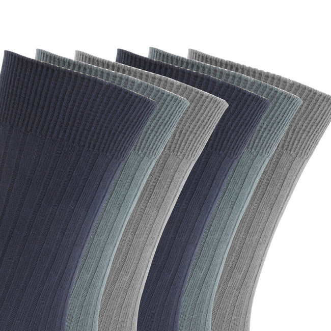 Navy-Blue-Grey - Back - FLOSO Mens Ribbed 100% Cotton Socks (6 Pairs)